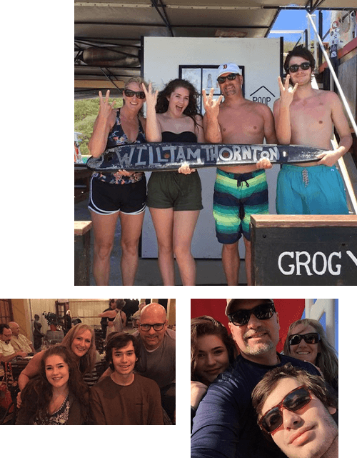 Pictures of Zach with family and friends