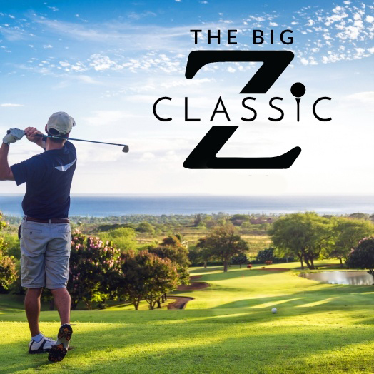 The Big Z Classic logo over image of a golfer